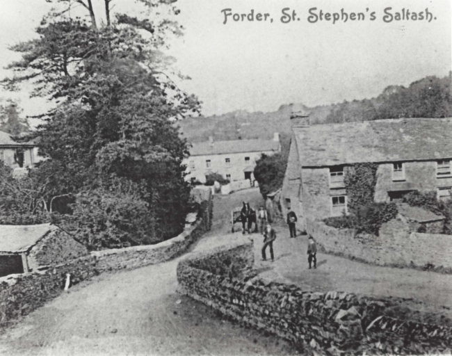 view of bridge and cottages, Forder, from Old Mill